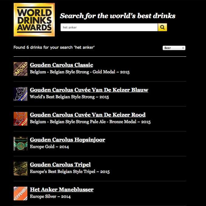 Het Anker Auszeichnungen World Drinks Awards